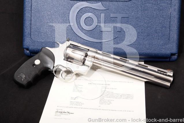 Colt Anaconda MM3080PDT, Stainless 8″ Ported SA/DA Double Action Revolver, Box & Letter, 1999 .44 Mag