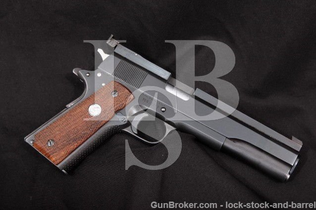 "Colt Clark Custom Long Heavy Slide 1911, Blue 6"" Full Rib Semi-Auto Target Pistol, MFD 1972 .45 ACP"