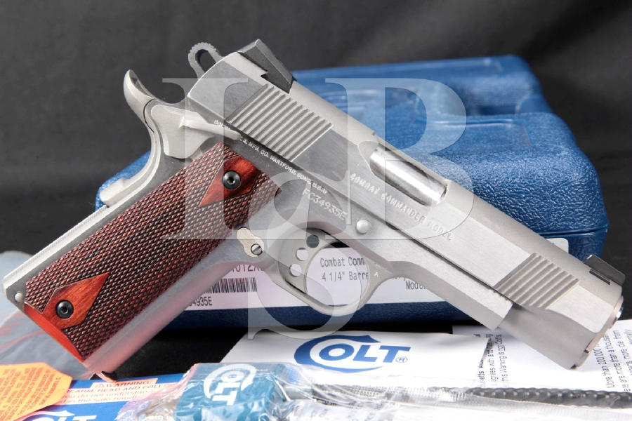 "Colt Combat Commander, Brushed Stainless Steel 4 1/4"" Single Action Semi-Automatic Pistol, MFD 2014"