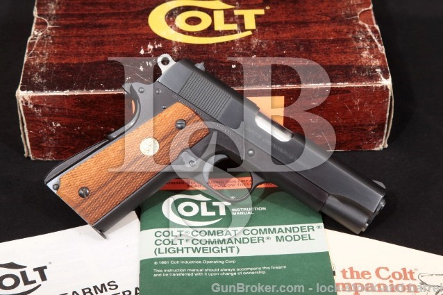 "Colt Commander Lightweight Series '70 Pistol & Box Blue & Black 4 1/4"" Alloy Frame, MFD 1971 .45 ACP"