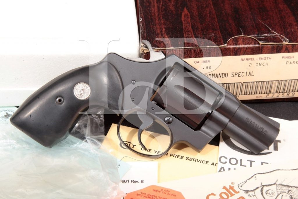 """Colt Commando Special D8320, 2"""" Parkerized 6-Shot Da/Sa Double Action Revolver & Box, MFD 1983 First Year Of Production .38 Special"""