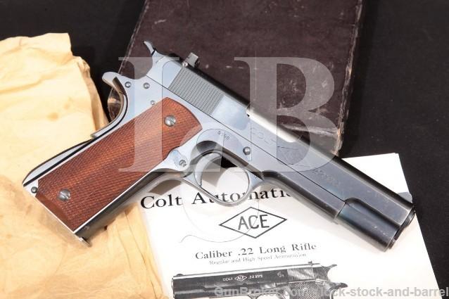 """Colt Commercial Ace, Blue 4 3/4"""" .22 LR Rimfire Semi-Automatic Target Pistol & Box, MFD 1934 C&R"""