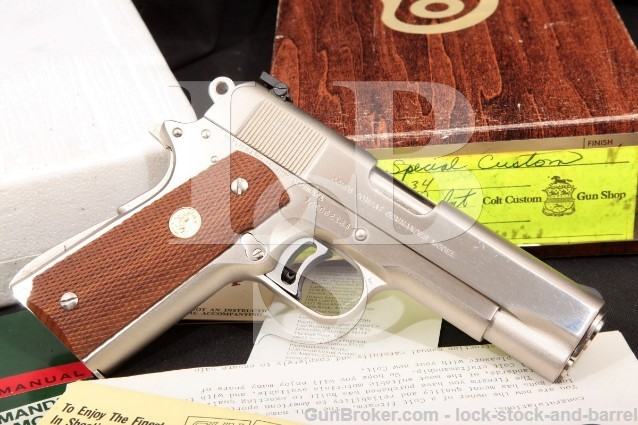 Colt Custom Combat Commander 04613 Pre-Series '80 Nickel 4 1 4 SA Semi-Automatic Pistol & Box 1978