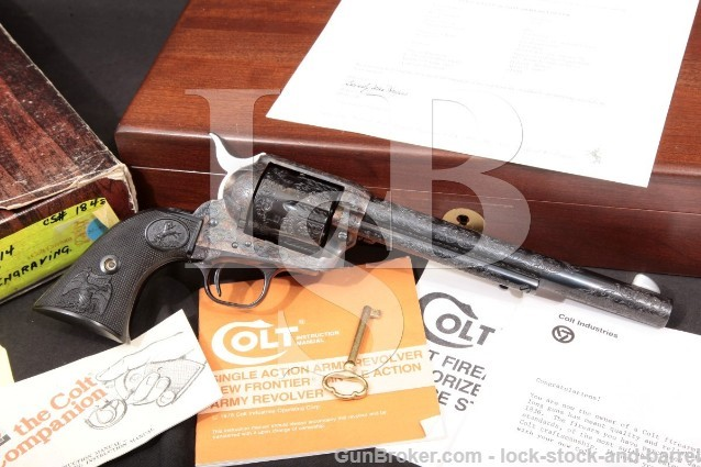 "Colt Custom Shop Class D Engraved 3rd Generation Single Action Army SAA 7 1/2"" Revolver .44-40 1983"