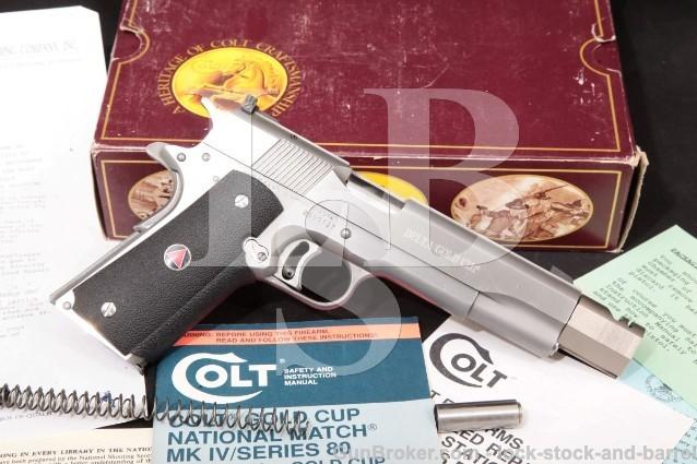 Colt Delta Elite Gold Cup, 10mm Semi-Auto Pistol Stainless 5″ Pistol, Comp-Bushing & Box, MFD 1999