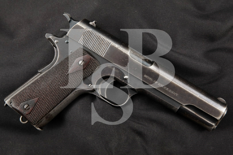 """Colt Early & Matching US ARMY Model of 1911, Blue 5"""" Pre-WWI Semi-Automatic Pistol, MFD 1914 C&R"""
