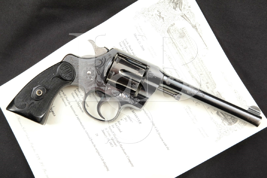 "Colt Factory Engraved Army Special, Beautiful Blue 6"" .38 Long Colt Double Action Revolver & Letter, MFD 1913 C&R"