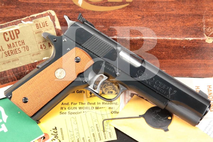 "Colt Gold Cup National Match NM Mark MK IV Series '70, Blue 5"" SA Semi-Automatic Pistol & Box, MFD 1975"