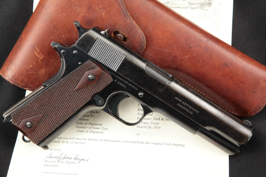 """Colt Government Model 1911 Commercial, Shipped to Texas, Blue 5"""" Semi-Auto Pistol, MFD 1916 C&R Letter & Holster"""