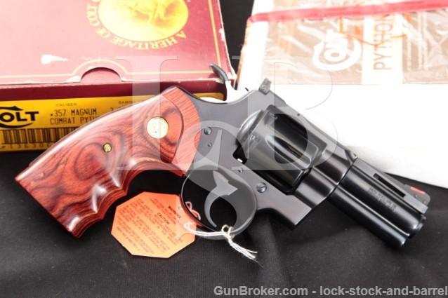 Colt Lew Horton Combat Python I3630CP 3″ .357 Mag DA/SA Double Action Revolver, Box & Paperwork 1988