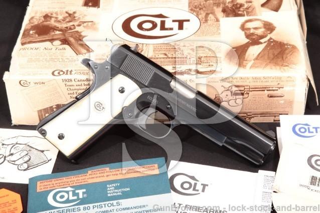 """Colt Lew Horton El Coronel Government Model 1911 02570EC Royal Blue 5"""" .38 Super Pistol & Box, 1993"""