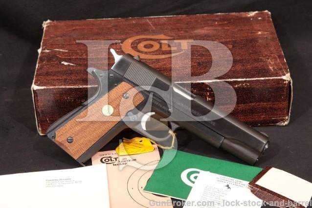 Colt MK IV Series '70 Government Model 1911 & Box Blue 5″ Semi-Auto Pistol, MFD 1977 .45 ACP