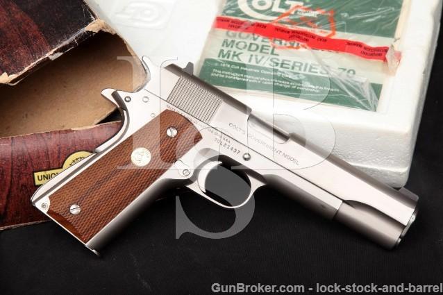 "Colt Mk Iv Series 70 Government 1911, Nickel 5"" 9mm Luger Semi Automatic Pistol & Box MFD 1980"