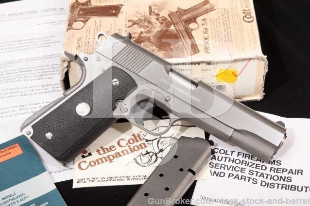 Colt Mk Iv Series '80 Government Enhanced 01070e .45 ACP Stainless 1911 Pistol & Box, MFD 1994