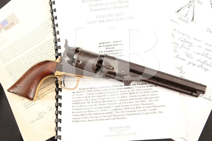 "Colt Model 1851 Navy, Documented Civil War-Era Confederate Owned, Blue & Case Colored 7 1/2"" 6-Shot, Single Action Revolver, MFD 1864 Antique"