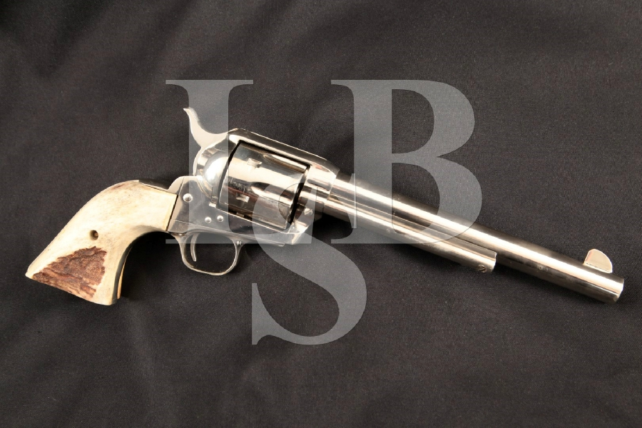 """Colt Model 1873 S.A.A. SAA 2nd Generation Smokeless + Stag Horn Grips, Nickel 7 1/2"""" 6-Shot SA Single Action Army Revolver, MFD 1977"""
