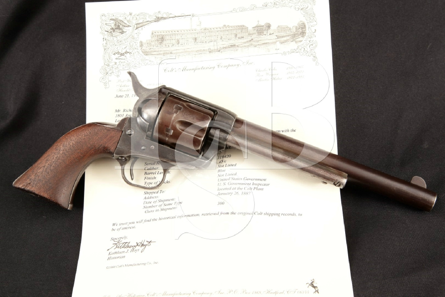 "Colt Model 1873 SAA 1st Gen. Cavalry, U.S. Marked & Lettered, Blue & Case 7 1/2"" Single Action Army Revolver, MFD 1887 Antique"