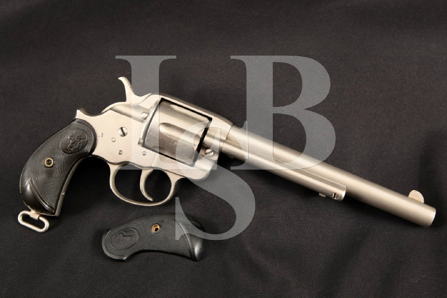 """Colt Model 1878 Frontier D.A., Beautiful Nickel 7 1/2"""" Double Action Revolver & Letter, MFD 1896 Antique"""