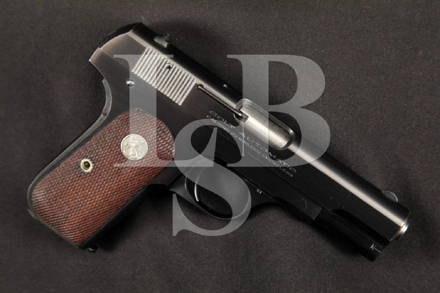 "Colt Model 1903 M1903 Type IV Pocket Hammerless, Pre-WWII Blue 3 3/4"" Semi-Automatic, Magazine Fed Pistol, MFD 1941 C&R"