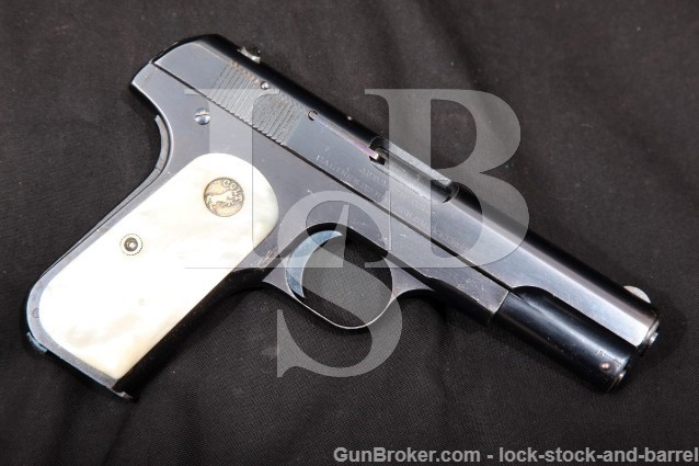 Colt Model 1903 Type I Pocket Hammerless .32 ACP Mother of Pearl Grips! Semi Auto Pistol, 1908 C&R