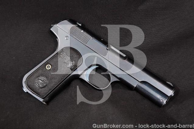 "Colt Model 1903 Type I Pocket Hammerless .32 ACP Blue 4"" SA Semi-Automatic Pistol, MFD 1907 C&R"
