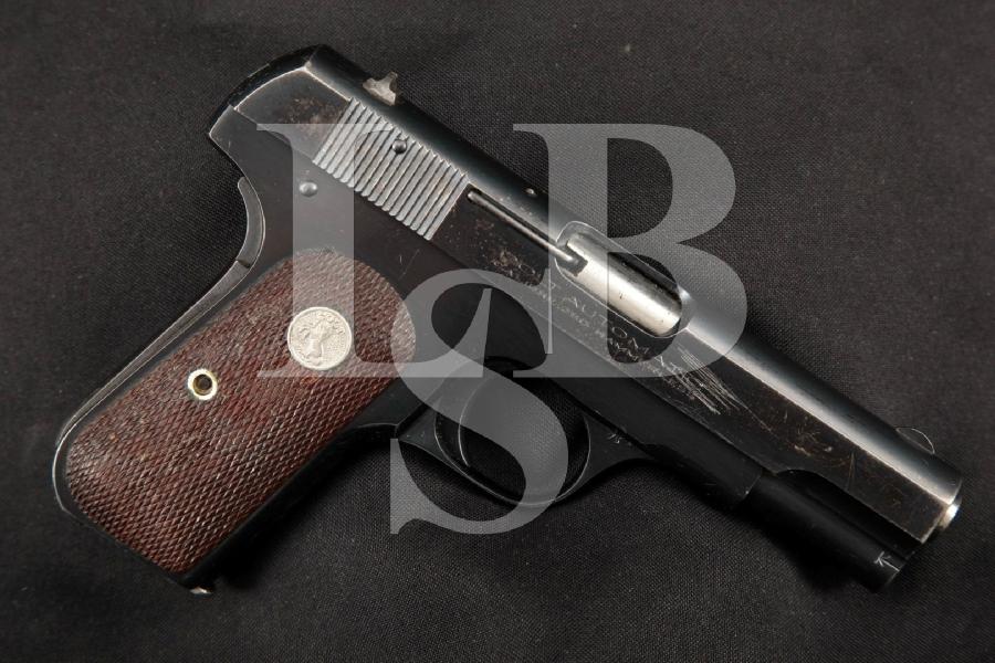 "Colt Model 1908 Type IV Pocket Hammerless, Blue 3 3/4"" SA Semi-Automatic Pistol, MFD 1936 C&R"