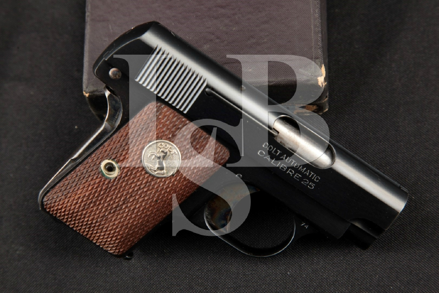 "Colt Model 1908 Vest Pocket Hammerless, Blue & Case Colored 2"" SA Semi-Automatic Pistol & Box, MFD 1936 C&R"