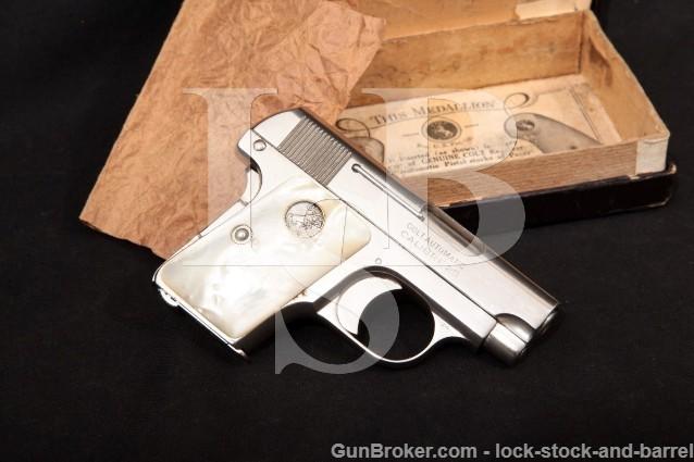 Colt Model 1908 Vest Pocket Hammerless, Nickel .25 Semi Automatic Pistol & Box, MFD 1925 C&R