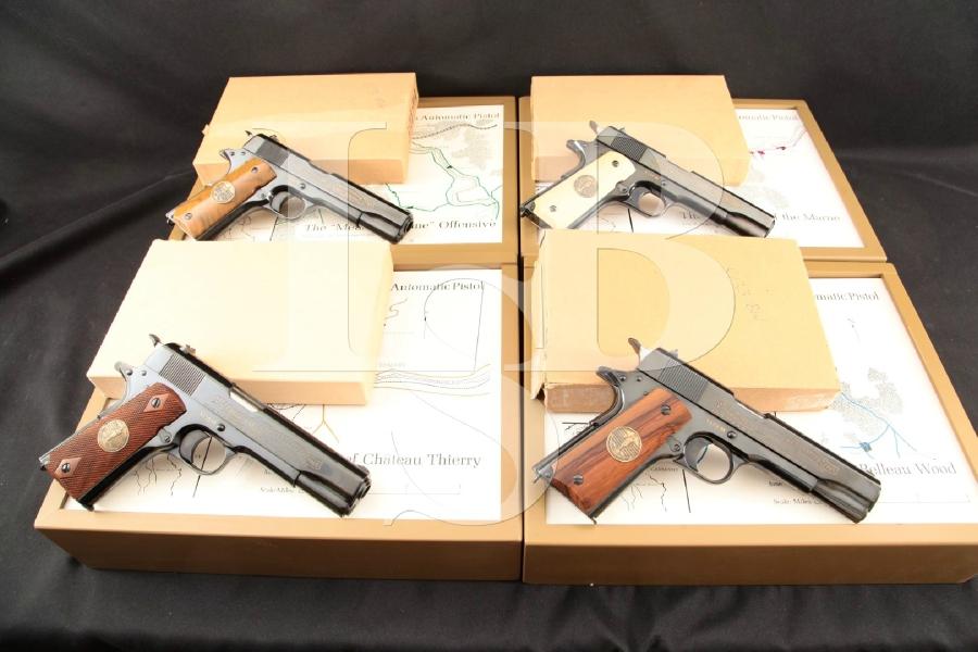 "Colt Model 1911 4-Gun WWI Display Set, Battle Engraved Blue 5"" SA Semi-Automatic Pistols & Display Cases, ATF C&R"