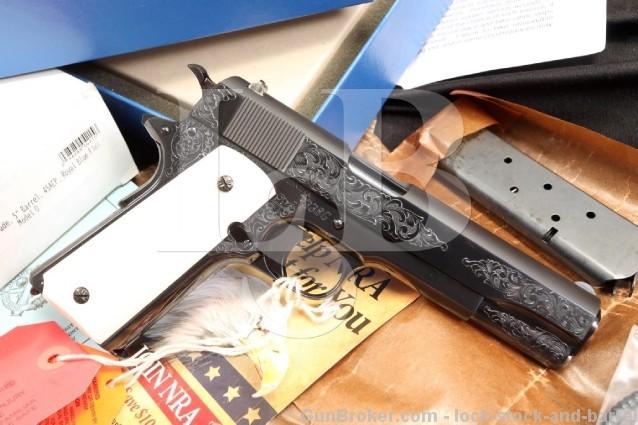 Colt Model 1911 Engraved Presentation Grade 45 ACP Semi Auto Pistol - Box & More - MINT CONDITION