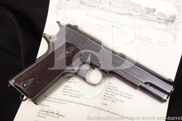 "Colt Model 1911 U.S. Navy Marked Pistol, June 1912 Blue, 5"" SA Semi-Automatic Pistol, June 1912 C&R"