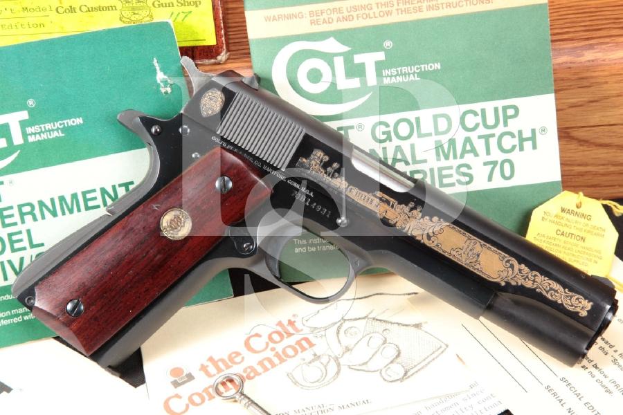 "Colt Model 1911A1 1911-A1 Series '70, San Diego PD Special Edition, Blue & Gold 5"" SA Semi-Automatic Pistol & Oak Case, MFD 1982"