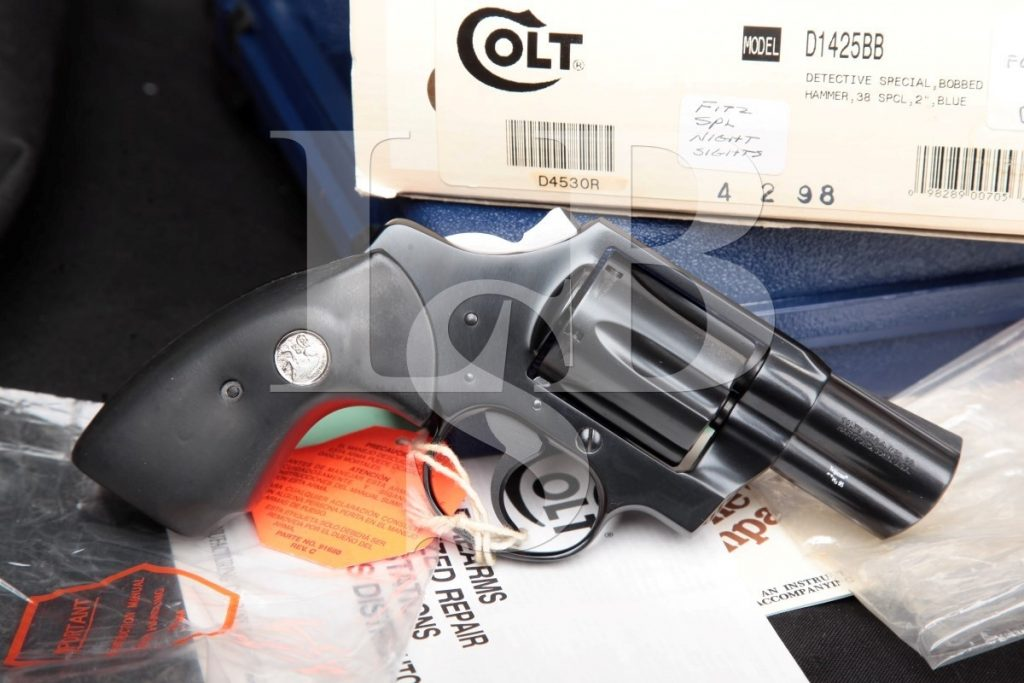 Colt Model Bobbed Detective Special 4th Issue D1425bb, Blue 2″ Double Action Only Revolver, Box & Paperwork, MFD 1994-1995 .38 Special