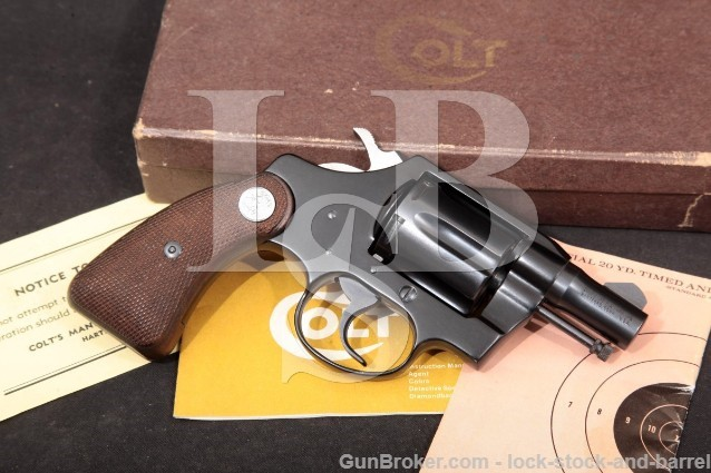 "Colt Model Cobra 1st Issue, Blue 2"" 38 Spl Special 6-Shot SA/DA Double Action Revolver & Box, 1968"