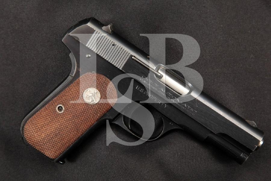 "Colt Model M 1908 Pocket Hammerless U.S. Property Marked Type V, Blue 3 ¾"" Semi-Automatic Magazine Fed Pistol, MFD 1945 C&R"