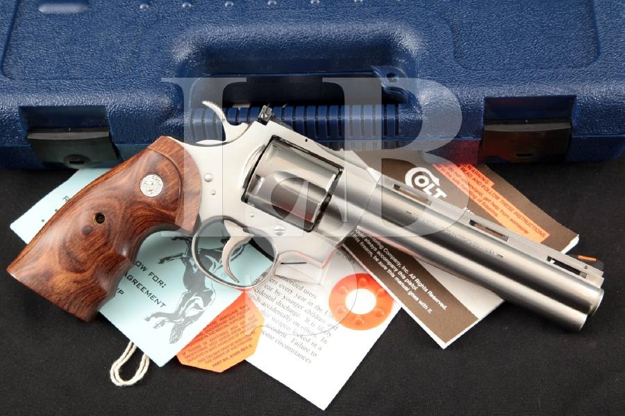"Colt Model Python Elite (Sharp), Stainless Steel 6"" 6-Shot, DA/SA Revolver, Case & More, MFD 1989"