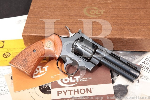 "Colt Model Python I3640 .357 Magnum Blue 4"" 6-Shot SA/DA Double Action Revolver & Box, 1974"