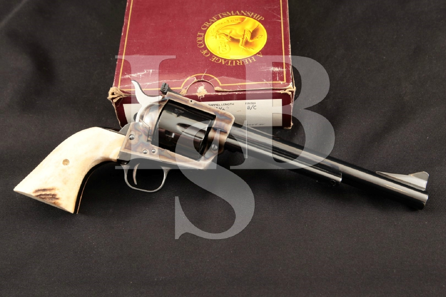 """Colt New Frontier NF 3rd Generation S.A.A., Beautiful Blue & Case Colored 7 1/2"""" Single Action Army Revolver & Box MFD 1981"""