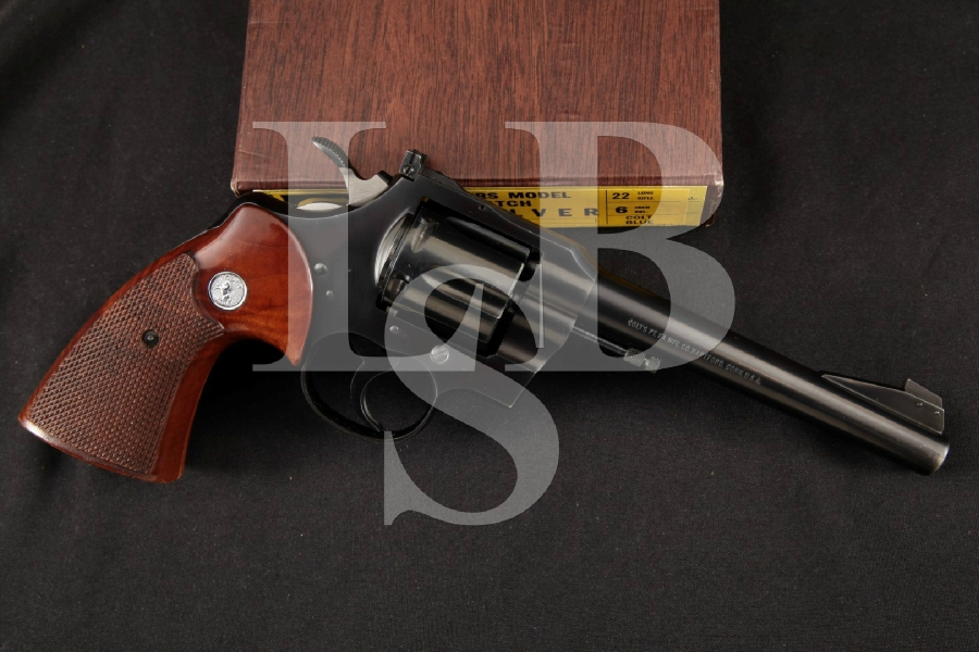 """Colt Officer's Model Target 5th Issue, Blue 6"""" 6-Shot DA/SA Double Action Revolver & Box MFD 1967"""