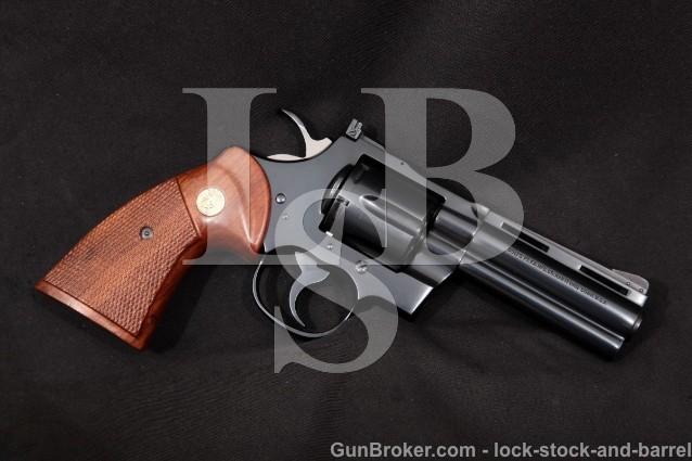 Colt Python I3640, Blue 4″ Vent-Rib Full Lug 6-Shot SA/DA Double Action Revolver, 1977 .357 Mag