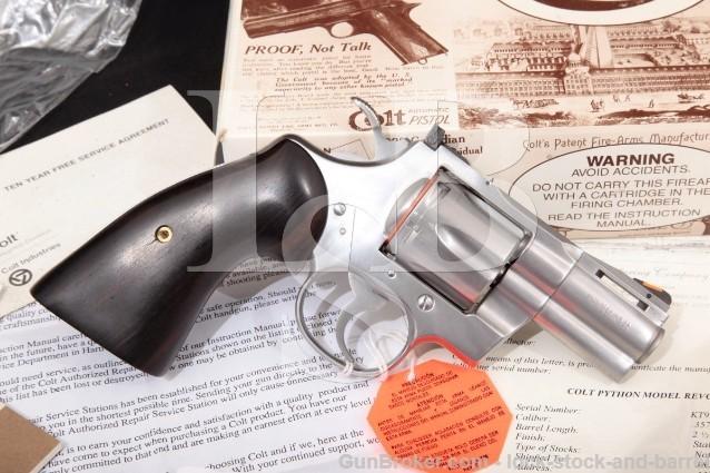 """Colt Python Model I3020, Stainless 2 1/2"""" .357 Mag SA/DA Double Action Revolver Box & Letter MFD 1992"""