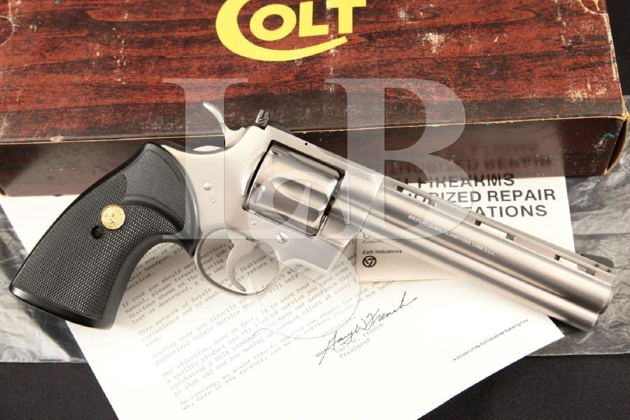 "Colt Python Model I3060, Sharp Satin Stainless Steel 6"" 6-Shot DA Double Action Revolver & Box, MFD 1983"