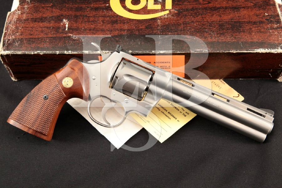 "Colt Python Model I3060, Stainless Steel 6"" 6-Shot DA Double Action Revolver & Box, MFD 1982"
