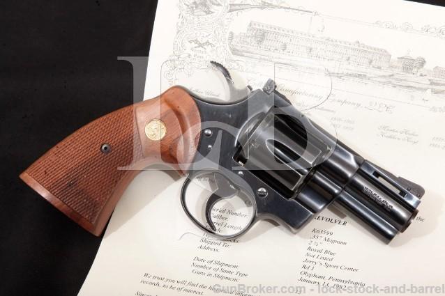"Colt Python Model I3620, Blue 2 1/2"" .357 Magnum SA/DA Double Action Revolver & Letter, MFD 1982"