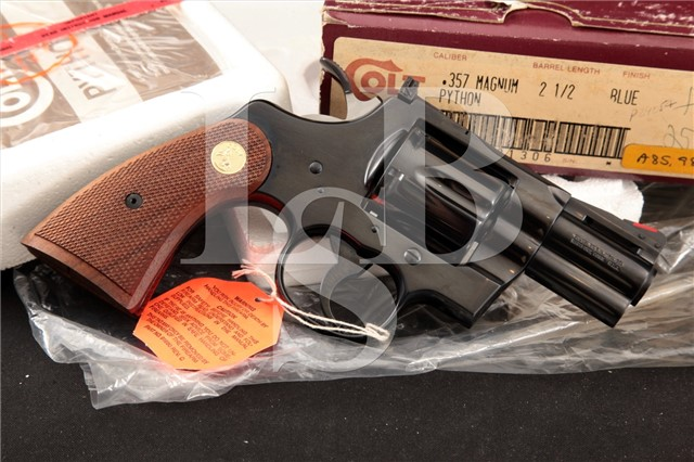 Colt Python Model I3620 Blue, 2.5″ .357 Magnum SA/DA Double Action Revolver & Box, MFD 1985-87