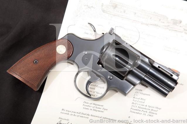"Colt Python Model I3620, Blue 2 1/2"" .357 Magnum SA/DA Double Action Revolver & Letter, 1965 C&R"