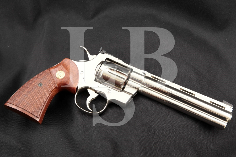 "Colt Python Model, Nickel 6"" .357 Magnum 6-Shot Double Action DA/SA Revolver, MFD 1979"