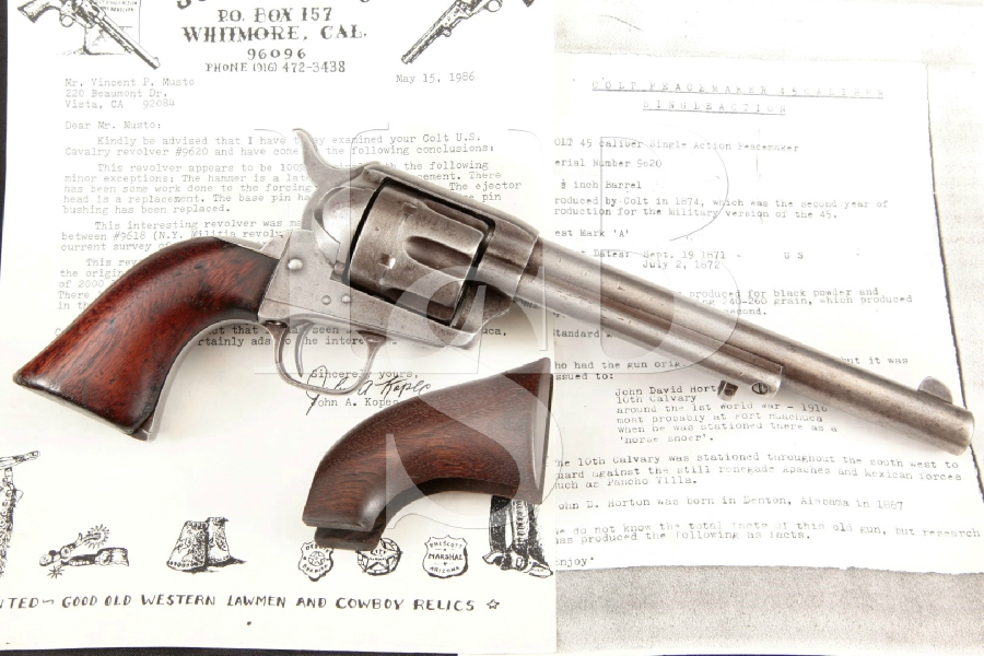 "Colt S.A.A. EARLY Ainsworth Inspected, Kopec Lettered Cavalry Model, Blue & Case 7 1/2"" SAA Single Action Army Revolver, MFD 1874 Antique"