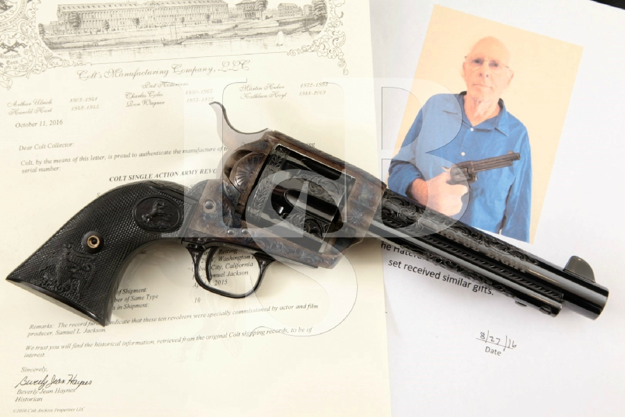 Colt S.A.A. Factory Engraved H8FUL EIGHT Gun from Samuel L. Jackson to Bruce Dern Single Action Army Revolver, Colt Letter & Photo