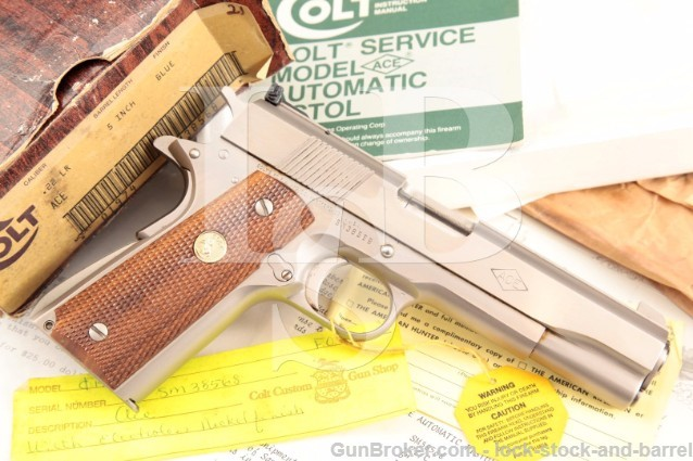 Colt Series '70 Service eNickel .22 LR ACE 1911A1 Factory Custom Shop Semi-Automatic Pistol & Box